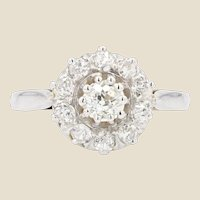 French 1950s Diamonds 18 Karat White Gold Daisy Ring