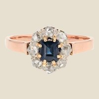 19th Century Sapphire Diamond 18 Karat Rose Gold Ring