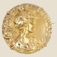 French Art Nouveau 18 Karat Yellow Gold Printemps Brooch