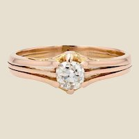 French 19th Century Diamond 18 Karat Rose Gold Solitaire Ring