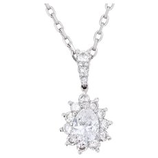Modern Diamonds 18 Karat White Gold Marquise Pendant