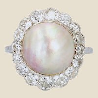 20th Century Mabe Pearl Diamonds 18 Karat White Gold Ring