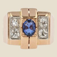 French 1940s Sapphire Diamonds 18 Karat Rose Gold Tank Ring