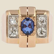 French 1940s Sapphire Diamonds 18 Karat Rose Gold Tank Ring