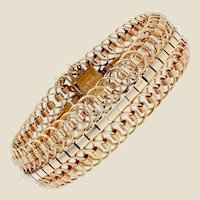 1950s 18 Karat Yellow Gold Articulated Mesh Bracelet