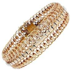 1950s 18 Karat Yellow Gold Articulated Mesh Bracelet