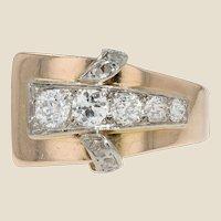 French 1940s Diamonds 18 Karat Rose Gold Asymetrical Tank Ring