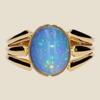 French 1900s Opal 18 Karat Yellow Gold Openwork Ring