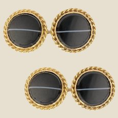 1960s Agate 18 Karat Yellow Gold Cufflinks