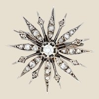 French 19th Century Diamonds 18 Karat Yellow Gold Silver Snowflake Brooch