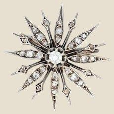 French 19th Century Diamonds 18 Karat Yellow Gold Silver Snowflake Brooch
