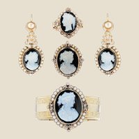 French 19th Century Natural Pearls Diamonds Onyx Cameo Set