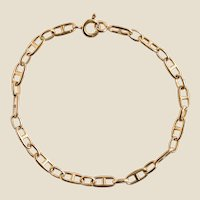 Modern 18 Karat Yellow Gold Navy Link Curb Bracelet