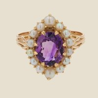 French 1960s Amethyst Cultured Pearls 18 Karat Yellow Gold Ring