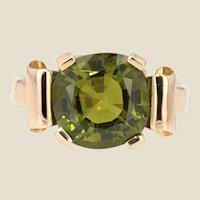 1930s Art Deco 5.90 Carat Peridot 18 Karat Rose Gold Ring