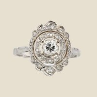 French 1920s Art Deco Diamonds 18 Karat White Gold Ring