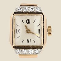 French 1930s Diamonds 18 Karat Yellow Gold Watch Ring
