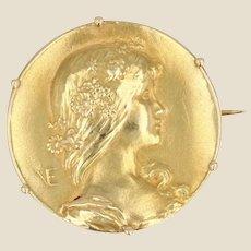 French Art Nouveau 18 Karat Yellow Gold Vernier Brooch