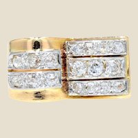 1940s Diamonds 18 Karat Yellow Gold Platinum Asymmetrical Tank Ring