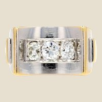 French Art Deco Diamonds 18 Karat Yellow White Gold Ring