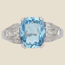 1930s Art Deco Aquamarine Diamonds Platinum Ring