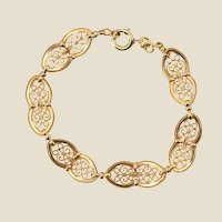 French 1900s Belle Époque 18 Karat Yellow Gold Filigree Bracelet