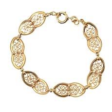 French 1900s Belle Époque 18 Karat Yellow Gold Filigree Bracelet