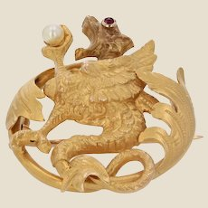French 19th Century Natural Pearl Ruby 18 Karat Yellow Gold Chimera Brooch