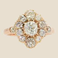 19th Century Diamonds 14 Karat Rose Gold Pompadour Ring