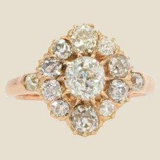 19th Century Diamonds 14 Karat Rose Gold Pompadour Ring