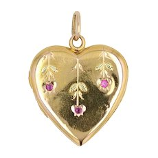 1900s Ruby 18 Karat Yellow Gold Heart Pendant