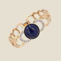 1950s Lapis Lazuli Cabochon Diamonds 18 Karat Yellow Gold Bracelet
