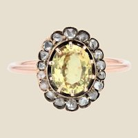 19th Century Yellow Sapphire Diamonds 18 Karat Rose Gold Ring