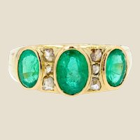 20th Century Emeralds Diamonds 18 Karat Yellow Gold Garter Ring