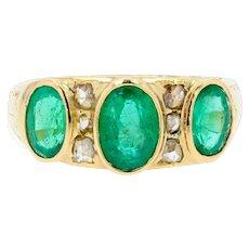 20th Century Emeralds Diamonds 18 Karat Yellow Gold Garter Ring