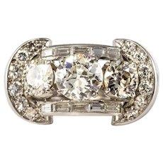 French 1930s Art Deco 5.10 Carat 18 Karat Diamond White Gold Platinum Ring