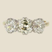 20th Century 1.50 Carat Diamonds 18 Karat Yellow Gold Garter Ring