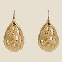 20th Century 18 Karat Yellow Gold Floral Decoration Lever- Back Earrings