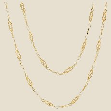 20th Century 18 Karat Yellow Gold Twisted Links Long Necklace