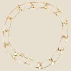Modern 18 Karat Yellow Gold Rectangular Link Curb Bracelet