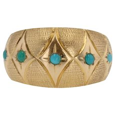 1960s Turquoise 18 Karat Yellow Gold Domed Ring