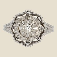 French 1960s Diamonds 18 Karat White Gold Retro Ring