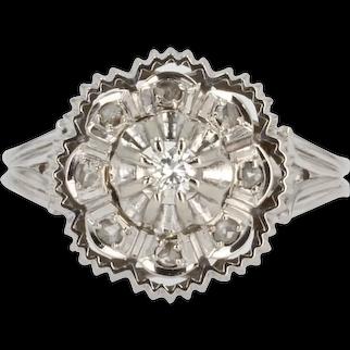 French 1960s Diamonds 18 Karat White Gold Retro Ring