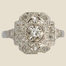 French 1930s Art Deco Diamonds Platinum Ring