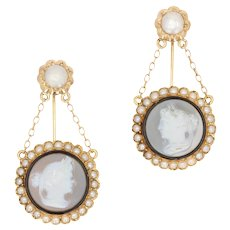 French 19th Century Natural Pearl Agate Cameo Dress Brooches
