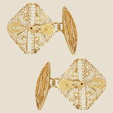 Modern 18 Karat Yellow Gold Filigree Cufflinks