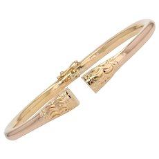 Modern Solid 18 Karat Rose Gold Bangle Bracelet