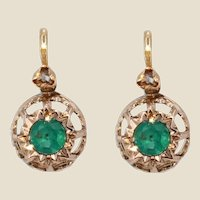French 19th Century Emerald Diamonds 18 Karat Rose Gold Lever Back Earrings