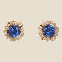 French 1960s Blue Sapphire 18 Karat Yellow Gold Retro Stud Earrings