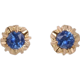 French 1960s Blue Sapphire 18 Karat Yellow Gold Retro Stud Earrings
